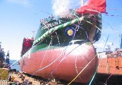 Kimyasal tanker denize indirildi