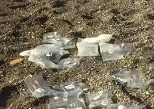 Fethiye'de balık yerine serumlar kıyıya vurdu