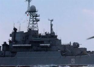 Savaş gemisi Çanakkale'de durduruldu