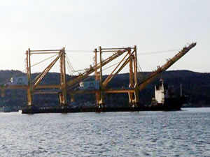 Asyaport'a ait liman vincini taşıyan gemi Çanakkale Boğazı'ndan geçti