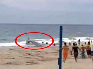 Amerika'da uçak plaja çakıldı