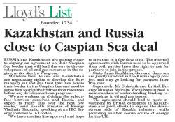 Hazar Denizinde Önemli Anlaşma