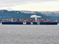 'MSC Trieste' isimli konteyner gemisi Çanakkale Boğazı'ndan geçti