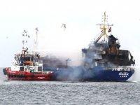 Pendik açıklarında M/V Mark isimli kuru yük gemisinde yangın çıktı