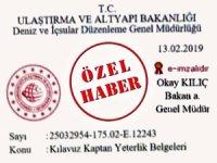 Bakanlık, kılavuz kaptan transfer yasağını Kıyı Emniyeti Genel Müdürlüğü ile sınırladı
