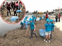 Urla'da deniz ve kıyı temizliğinde yarım ton atık toplandı