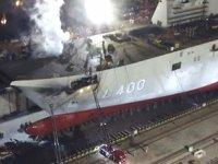 Sedef Tersanesi'nde inşası süren TCG Anadolu gemisinde yangın çıktı