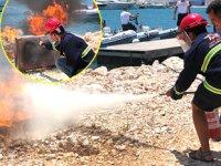 Çeşme Marina çalışanlarına yangın eğitimi verildi