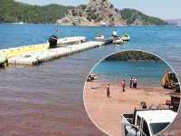 Marmaris Kızkumu Plajı'ndaki ruhsatsız su sporları parkuru kaldırıldı