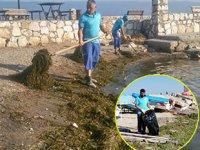 Bursa plajları yosunlardan temizleniyor