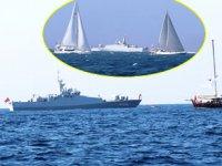 Kardak kayalıklarından geçen yelkenlilere Türk savaş gemisi eşlik etti