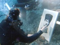 Fethiye'de denizaltında Atatürk'ün portresi yaptılar