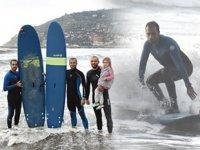 Antalya'da sporcular, sörf yapmanın keyfini çıkardı