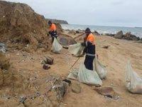 Kilyos sahilinde fırtına sonrası temizlik yapıldı