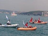İstanbul Boğazı'ndaki fetih çoşkusu havadan görüntülendi