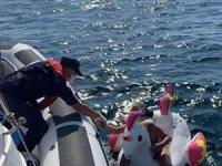 İzmir'de şişme deniz oyuncağıyla sürüklenen iki çocuğu, Sahil Güvenlik kurtardı