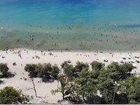 Menekşe Halk Plajı'nda hafta sonu yoğunluğu drone ile görüntülendi