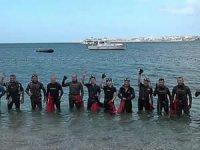 Büyükçekmece'de 25 balık adamla deniz temizliği yapıldı