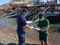 Sahil Güvenlik ekipleri, plaj ve tur teknelerinde koronavirüs denetimi yaptı