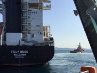 TILLY RUSS isimli kargo gemisi, Çanakkale Boğazı'nda makine arızası nedeniyle sürüklendi