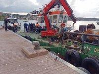 Beykoz sahilindeki tekneler vinç ile kaldırıldı