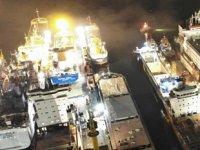 Torgem Tersanesi'ndeki canlı hayvan taşıma gemisinde yangın çıktı