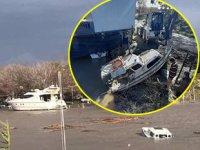 Fırtınada batan tekneler vinç yardımıyla çıkartıldı