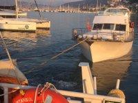 Fethiye'de demirdeyken su alan tekne tersaneye çekildi