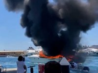 Bodrum'da ACD isimli yatta yangın çıktı