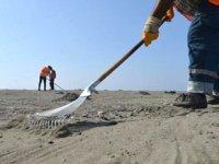 Samandağ sahilinde petrol atıkları temizliği sürüyor