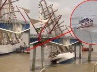 Ekvador'da Cisne Branco eğitim gemisi, köprüye çarptı