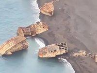 2. Dünya Savaşı'nda batan Japon gemileri, yanardağ patlamasıyla su yüzeyine çıktı