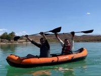 Tödürge Gölü'nde kano heyecanı yaşandı