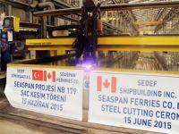 Seaspan için inşa edilecek çift yakıtlı feribotların saç kesim töreni Sedef Tersanesi'nde yapıldı