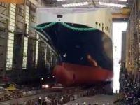 Türkiye'nin en büyük Ro-Ro gemisi M/V MELEQ, Flensburg'ta yapılan törenle denize indirildi