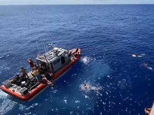 ABD'li denizciler, köpek balığından açılan ateşle kurtuldu
