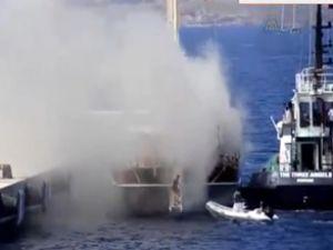 Bodrum'da lüks teknede yangın çıktı